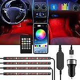 ROMALL Bande lumineuse LED pour intérieur de voiture, DC 5 V, port USB, avec télécommande Bluetooth et lumières dansantes ave