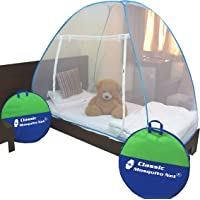 Classic Mosquito Net, Single Bed, Polyester Foldable - Blue