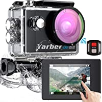 Yarber Action Cam Touch Screen 4K Ultra HD 170°WiFi 30FPS 20MP Impermeabile 40M Fotocamera con EIS Hyper Stabilizzata…