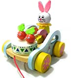 Crafts India Wooden Pull Along Toy- Bunny Drumming car - Funny Bunny
