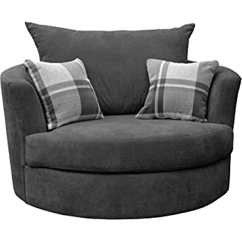 Sofas And More Large Swivel Round Cuddle Chair Fabric Grey Amazon