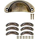 FUXXER® - 6x antieke schuifladen greep schelpen ijzeren handgrepen, meubelgrepen, greepschalen voor schuiver kastdeuren buffe