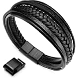 murtoo Bracelet for Man Cowhide Genuine Leather Women Unisex Cuff Wrap Bracelet Brown Black Multi-Layer Magnetic Clasp…