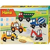 Hama 3143 - Geschenkpackung Baufahrzeuge, ca. 4000 Bügelperlen, 1 Stiftplatte und Zubehör