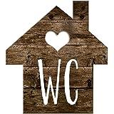Logbuch-Verlag Wc-bord toiletbord houtlook huisjes bruin wit - schild toilet neutraal mannen & vrouwen gastentoilet deurbordj