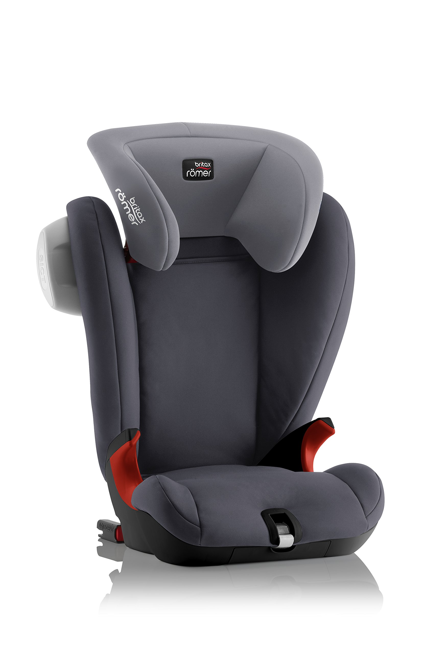 Britax Römer KIDFIX SL SICT BLACK SERIES Group 2-3 (15-36kg) Car Seat - Storm Grey Britax Römer Side impact protection - deep, softly padded side wings and sict technology, removable to use only on the side closest to the door Simple installation - soft-latch isofit system Misuse limiting design - intuitively positioned seat belt guides 3