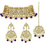 Peora Ethnic Indian Traditional Jewellery Kundan Choker Necklace Earring Maang Tikka Set for Women Girls