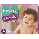 Pampers Active Baby Diapers, Large, 78 Count