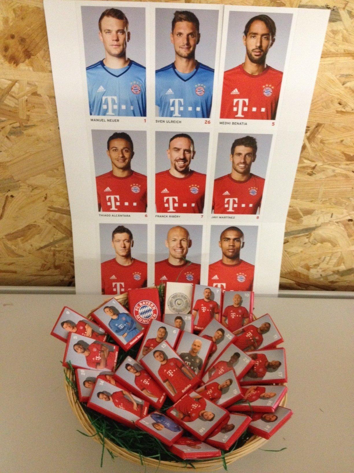 FC Bayern München Weihnachtsnest / Nikolausnest /Osternest / Frühlingsnest mit 25 Schokoladentäfelchen á 7,5g und 27 Autogrammkarten (6,88€/100g) 1