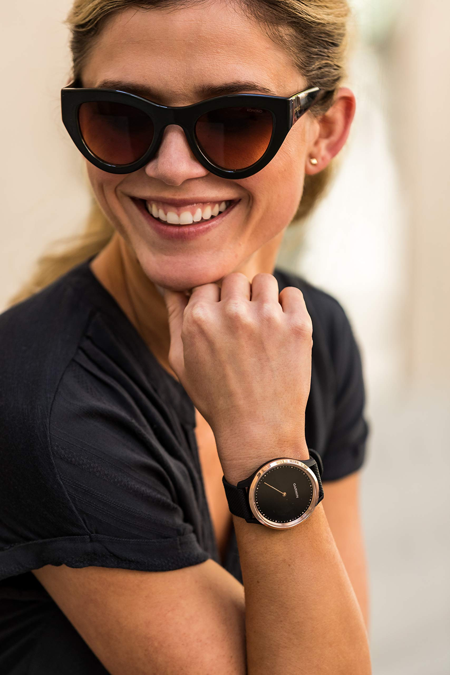 Garmin Vívomove HR-   Reloj híbrido con pantalla oculta y agujas,  correa de silicona negra