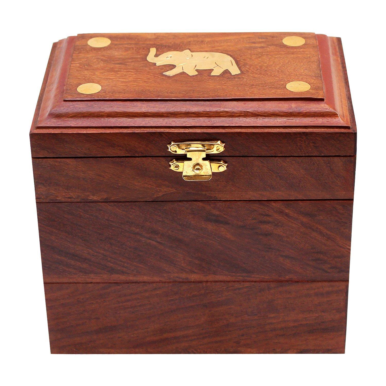 Storage for Women Jewel Organizer Gift Items Ultimate Krafts ITOS365 Handmade Wooden Jewelry Box//Case