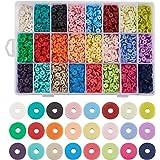 Cheriswelry 4800 Pezzi 6mm Perle tonde Piatte di Argilla polimerica 24 Colori Fatti a Mano distanziatore Disco Perline Heishi