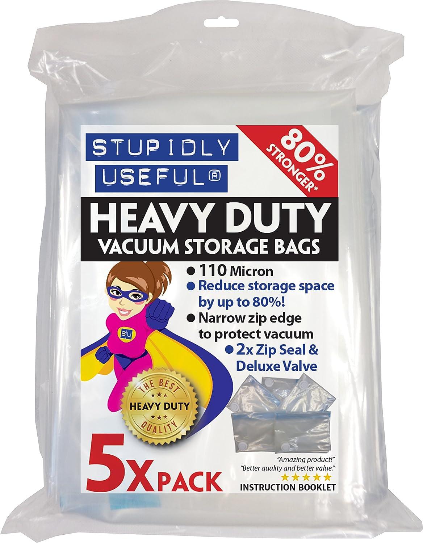 stupidly useful heavy duty vacuum storage bags platinum 110 micron range jumbo 130x100cm 5 pack amazoncouk kitchen u0026 home