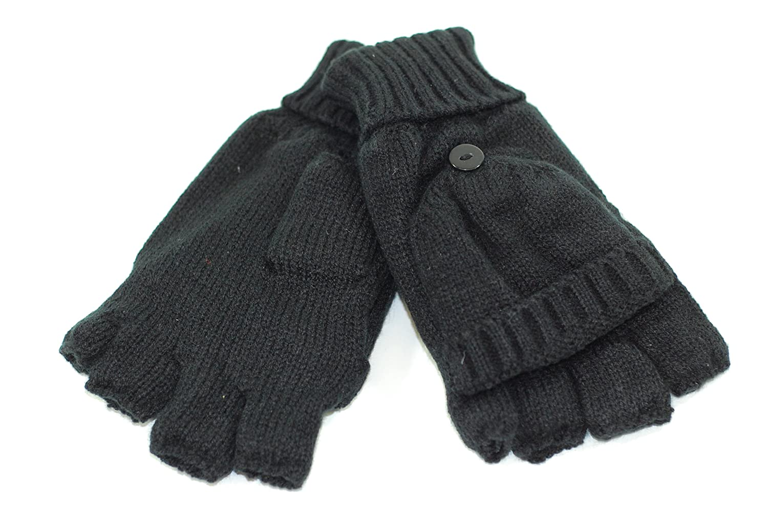 Mens gloves with mitten flap - Adults Mens Thermal Winter Shooter Mittens Mitts Fingerless Gloves Black Amazon Co Uk Clothing