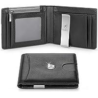 wilbest® Portafoglio Uomo Vera Pelle Blocco RFID con Fermasoldi, Piccolo Portafogli con Tessere Tascabile Documenti…