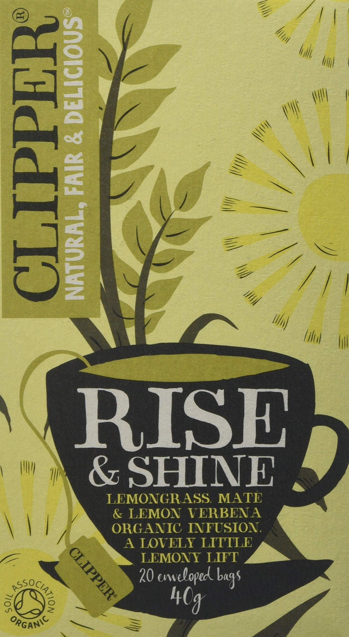 Clipper organic rise and shine tea bundle (soil association) (infusions) (6 packs of 20 bags) (120 bags) (a vegetal tea with aromas of lemongrass) (brews in 3-5 minutes)