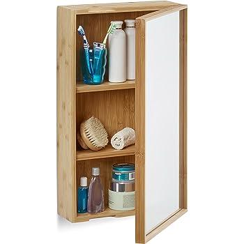 Relaxdays bad spiegelschrank aus bambus eint riger badezimmerschrank mit spiegel - Spiegelschrank bambus ...