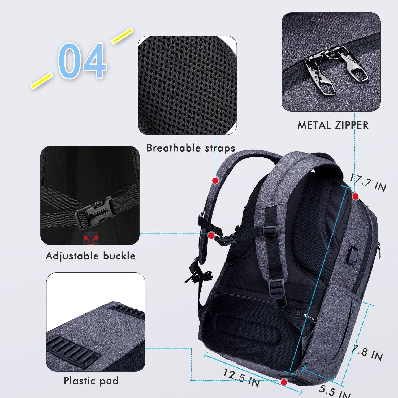 819wE9rBCPL - Fubevod Mochila de Ordenador portátil de negocios con cargador USB impermeable Bolsa de colegio negro