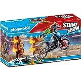 Playmobil - Stuntshow - Moto-Cross avec 1 Personnage Cascadeur et 1 Mur de Feu - Accessoires Inclus
