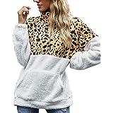 Voqeen Felpa Donna Maglione in Pile Caldo Cappotto Donna Invernale Sweatshirt Oversize Pullover con Tasche Felpe Tumblr Inver
