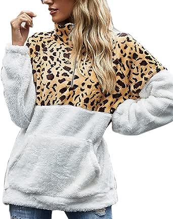Voqeen Felpa Donna Maglione in Pile Caldo Cappotto Donna Invernale Sweatshirt Oversize Pullover con Tasche Felpe Tumblr Inverno Autunno Manica Lunga Scollo Alto con Zip