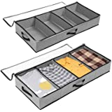 SOLEDI Sac de Rangement sous Lit Lot de 2 Pliable Closet Organizer Sac Souple Grande Sac Space Saver pour Vêtements Couvertur