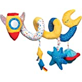 Manhattan Toy Space Themed Rocket Soft Baby Travel Spiral with Baby-Safe Mirror, Elastic Pull Cord & Rattle Chime