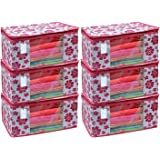 IMMERSE Flower Design Non Woven Saree Storage Cover/Cloth Wardrobe Organizer and Cover Combo Set (PACK OF 6)