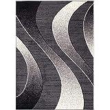Carpeto Rugs Tapis Salon Gris foncé 220 x 300 cm Moderne Vagues/Monaco Collection