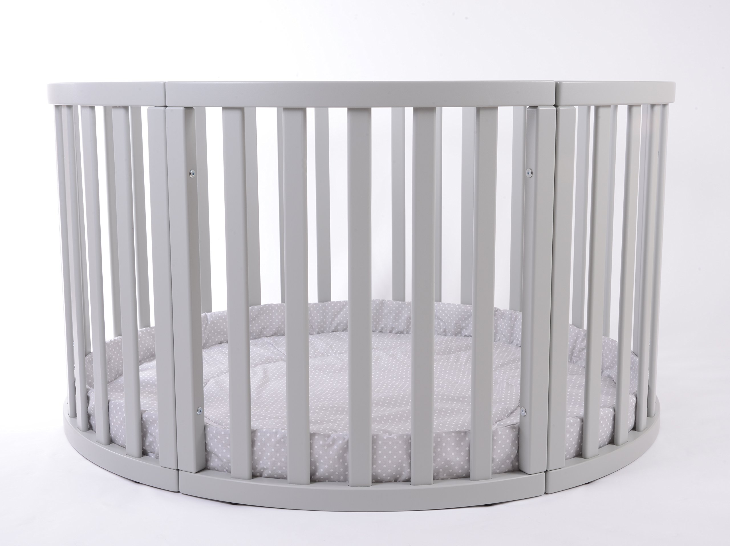 MJmark Round PLAYPEN APOLLO QUATTRO VERY LARGE Wooden play pen with play-mat SALE SALE (Grey Polka Dots) MJmark Height 70 cm approx; Ø 120cm including Playmat made from solid hard wood (Birch) 3