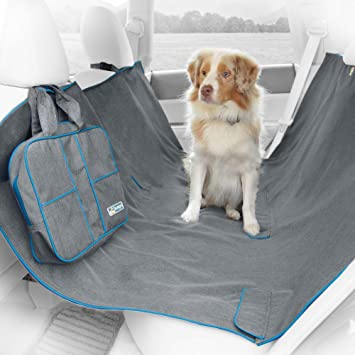 Medium image of kurgo dog hammock for back seat of car converts to rear seat cover waterproof and scratch resistant one size   fits most vehicles charcoal