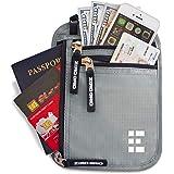 Zero Grid Neck Wallet w/RFID Blocking - Concealed Travel Pouch & Passport Holder (One Size, Ash)