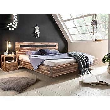 Woodkings Holz Bett 180x200 Marton Doppelbett Akazie Rustic Schlafzimmer  Massivholz Design Doppelbett Schwebebett Massive Naturmöbel Echtholzmöbel