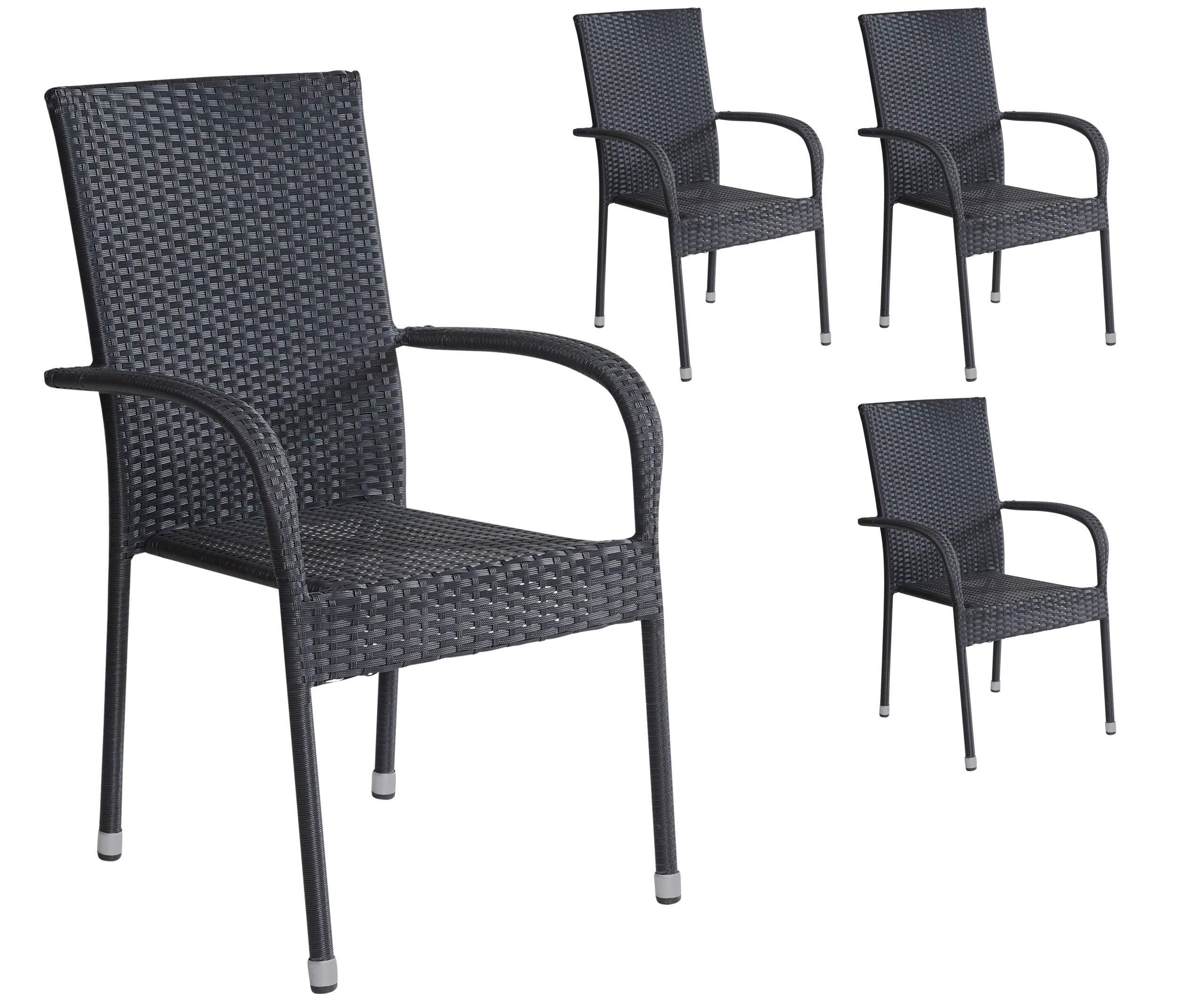 Attraktiv 4er Set Stapelstühle Armlehnstühle Gartenstühle In Schwarz Mit Armlehnen  Exkl. Auflage Stapelbar