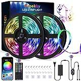Racokky LED-remsa, 20 m RGB, 44 knappar IR-fjärrkontroll, appkontroll, musiksynkronisering, färgförändring ljusremsor för dek