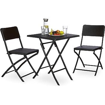 Relaxdays Gartenmöbel Set BASTIAN, 3 Teilig, Sitzgruppe Klappbar,  Quadratischer Klapptisch Und 2x Gartenstuhl