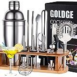 GOLDGE Shaker à Cocktail, Shaker Cocktail Professionnel en Acier Inoxydable, Lot de 17, Cocktail Shaker 750ml Kit Barman avec
