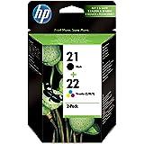 HP 21/22 Multipack Original Druckerpatronen (1x Schwarz, 1x Farbe) für HP Deskjet 3940, D1530, D2360, D2460, F2180, F2224, F3