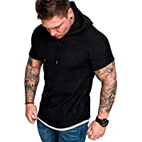 Mens Casual Sweatshirts - Sport Sweatshirt Solid Color Pullover Athletic Hoodies Short Sleeve Plain Top Work Sports Tee…