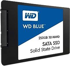 WD Blue 3D NAND 250 GB 2,5 Zoll Interne Festplatte SATA SSD, bis zu 550 MB/s Lese- und 525 MB/s seq. Schreibgeschwindigkeit