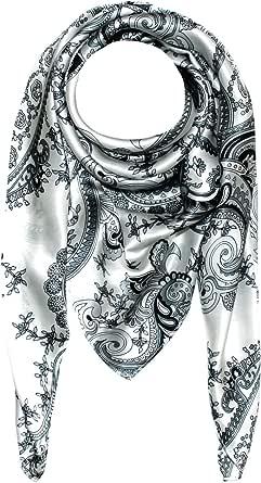 Lorenzo Cana–Foulard da donna in 100% seta–Motivo barocco, in seta nero, argento e bianco, 100x 100cm–89005