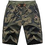 MO GOOD Mens Casual Shorts Workout Running Comfy Shorts Big and Tall Zip Pockets