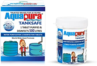 Aquapura Water Purifier Tablets for 500 litres per Tablet, 50 Tablets Pack, 25000 litres Water Purification per Pack, 3 Years Shelf Life & Warranty, for Overhead & Underground Tanks