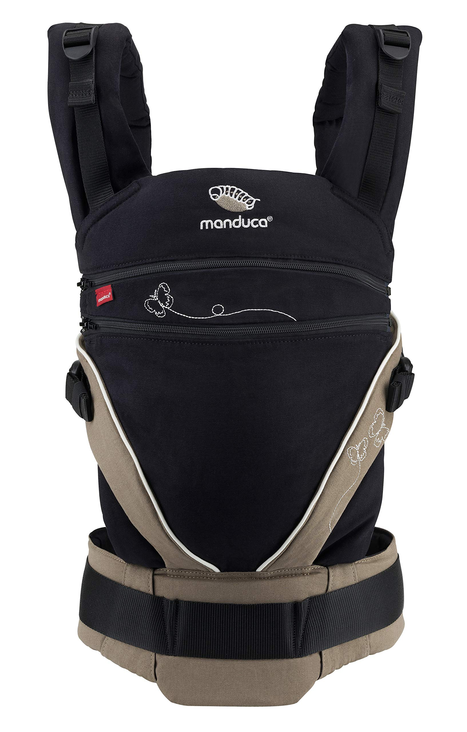 manduca XT Limited Edition > Butterfly Black < Baby Carrier with Adjustable Seat, Front, Hip & Back Carry, Organic Cotton, No Infant Insert Needed, Adapts to Babies from Newborn to Toddler (3.5-20kg) Manduca This baby carrier adapts from newborn to toddler. Infinitely adjustable seat (16-50cm) without buttons, knots, Velcro or cord system. Novel tension arches support baby's spine & hip Three height options thanks to the patented back extension & integrated zip-in. Multifunctional headrest (classic hood or rolled up as neck support). No accessories needed. One Size 3 carry positions: front, hip and back carrier. Not intended for face-out position. Supports the squat-spread position (M-Position) 1