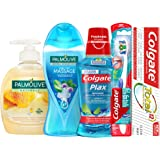 Colgate Palmolive Personal Care Hygiene Kit Toothpaste, 75 ml + Toothbrush, Soft + Mouthwash, 250 ml + Shower Gel, 250 ml + L