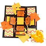 Crack of Dawn Crafts 3 Layered Happy Explosion Box (Yellow Chevron) (Birthday)
