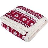 Micro-Pro Red Snowflake Design Fleece Blanket Soft Sherpa Sofa Bed Throw 130x160cm