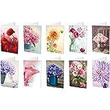 10 Blumenkarten (Klappkarten) im Set (10 unterschiedliche Motive mit jeweils 1 Grusskarte) inklusive 10 haftklebender Umschläge, Geburtstagskarten, Grusskarten, Blumen