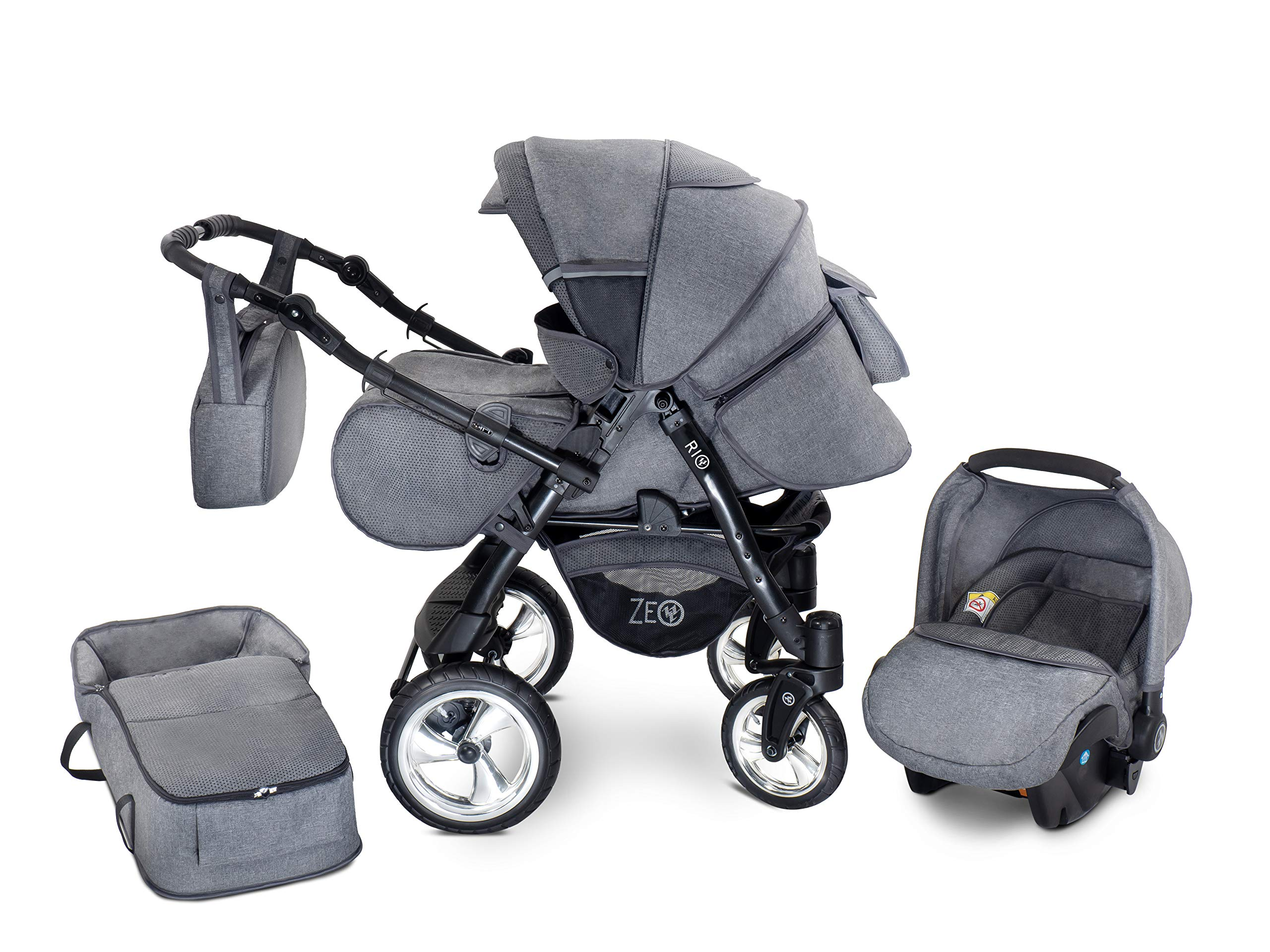 Baby Pram Zeo Rio 3in1 Set - All You Need! carrycot Gondola Buggy Pushchair car seat (R3) Zeo 3 in 1 combination stroller complete set, with reversible handle to the buggy, child car seat or baby carriage Has 360 ° swiveling wheels, two-fold suspension, four-stage backrest, five-position adjustable footrest and a five-point safety belt The stroller can be easily converted into other functions and easy to transport 1