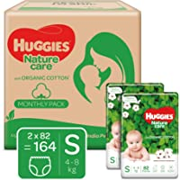Huggies Nature Care Pants, Monthly Pack, Small (S) Size Baby Diaper Pants, 164 Count, Nature's gentle protection with…
